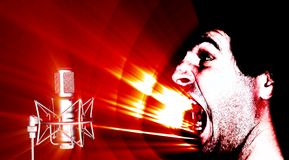 Sound attack. Illustration of microphone receiving sound waves frequencies Stock Photo