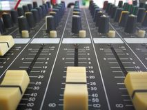 Sound audio board control equalizer. Sound audio equipment mixer instrument stock image