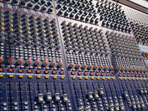Sound audio mixer control system. Console in close up detailed view stock images
