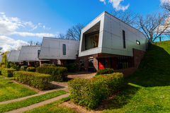 Sound barrier houses called The Cyclops in Hilversum, Netherlands. Hilversum, Netherlands - April 19, 2016: sound barrier houses called The Cyclops. They are royalty free stock photos