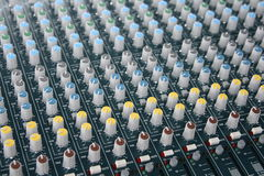 Sound board. A picture of a mixing sound board royalty free stock photos