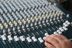 Sound board. A picture of a mixing sound board royalty free stock photo