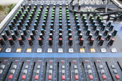 Sound board closeup for outside live performance Stock Photography