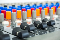 Sound Board In Studio - Stock Image. Close-up of Sound Board In Studio Room Stock Images