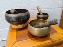 Free Sound Bowls On Display Inside Yoga Studio Stock Photo - 151784330