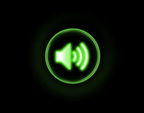 Sound button. Being shone in the dark stock images