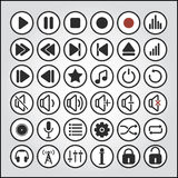 Sound buttons, audio player icons Stock Photography