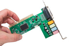 Sound card for computer isolated Royalty Free Stock Photos