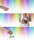 Sound and color healing website banners x 3. Rainbow colored graduated linear background with tuning fork, Tibetan seven metal singing bowl and Ting Sha royalty free stock image