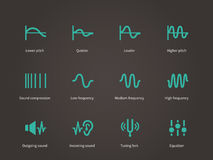 Sound compression and audio waves icons set. Stock Photo