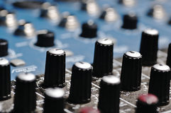 Sound console. Audio mixer. Stock Image