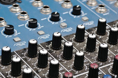 Sound console. Audio mixer. Royalty Free Stock Photos
