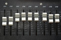 Sound control. Controls of an audio mixing device royalty free stock photography