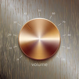 Sound control with bronze or golden brushed texture and number scale isolated on bronze polished texture background. Volume button, sound control, music knob Stock Images
