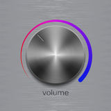 Sound control button with dark metal steel texture and color scale on metal texture Stock Photo