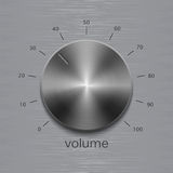 Sound control with dark metal steel texture and number scale on aluminum polished texture. Volume button, sound control, music knob with dark metal steel texture vector illustration