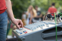 Sound control engineer at outdoor music performance stock photos