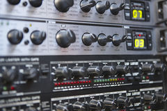 Sound control equipment. Board detail. Decay buttons. Technology Royalty Free Stock Images