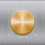 Sound control with golden texture on metal texture. Volume button, sound control, music knob with golden texture and line scale isolated on metal texture Royalty Free Stock Photos