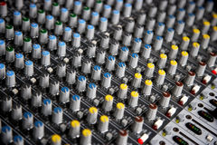 Sound control mixer close-up Royalty Free Stock Photo