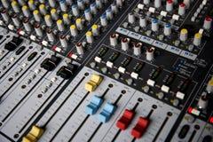 Sound control mixer close-up Stock Images