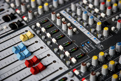 Sound control mixer close-up Royalty Free Stock Photography