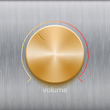 Sound control, music knob with golden brushed texture and color line scale isolated on metal texture background. Volume button, sound control, music knob with Stock Photography