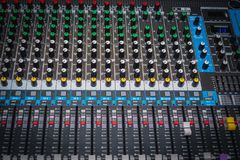 Sound control panel or mixing console. Large music panel for DJ for advanced music mixing Stock Photos