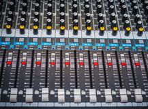 Sound control panel or mixing console. royalty free stock photos
