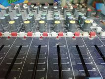 This is sound control in the control room. royalty free stock image