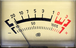 Sound decibel meter. Decibel meter - part of sound equipment royalty free stock photos