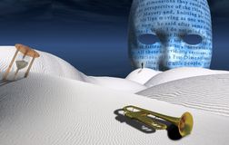 Sound of desert. Surreal desert with hourglass and trumpet. Big mask on the horizon. Figure of man in a distance. Human elements were created with 3D software Stock Image