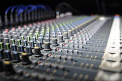 Sound desk. A sound desk in a club blurred Stock Photography