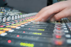 Sound desk action Royalty Free Stock Image