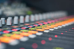 Sound desk colors Royalty Free Stock Photography