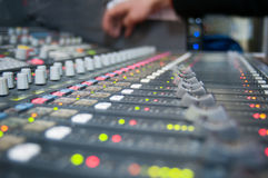 Sound desk detail. Lots of colourful sound desk buttons Royalty Free Stock Photos