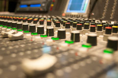 Sound desk lines. Lots of colourful sound desk buttons Stock Images