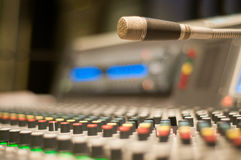 Sound desk microphone Royalty Free Stock Image
