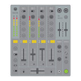 Sound dj mixer. Vector flat design sound dj mixer with knobs and sliders Royalty Free Stock Images
