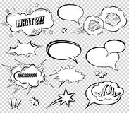 Sound effect set design for comic book. Comic Book Bang cloud, pow sound, bomb pow sound. Comic speech bubbles set Stock Photos