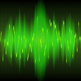 Sound energy wave abstract. Green sound energy waves oscillating on black background Royalty Free Stock Image