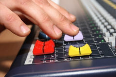 Sound engineer. At mixing desk Royalty Free Stock Image