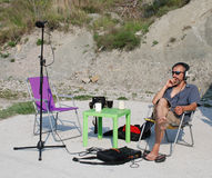 Sound Engineer on Location in Slovenia Royalty Free Stock Photo
