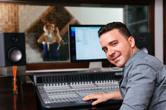 Sound engineer. Portrait of sound engineer at the recording studio Royalty Free Stock Photography