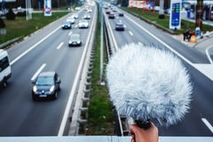 Sound engineer recording highway sound royalty free stock image