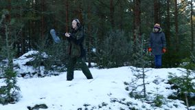 Sound engineer records the sound of footsteps in the snow stock video