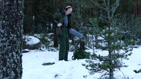 Sound engineer records the sound of footsteps in the snow stock video footage