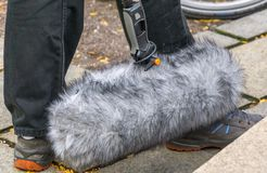 Sound engineer& x27;s wind microphone royalty free stock photo
