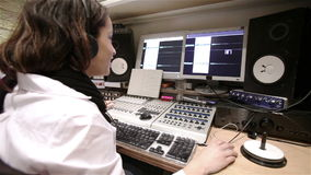 Sound engineer working stock video
