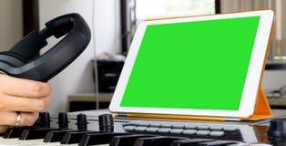 Sound engineer working on music work station Stock Photos